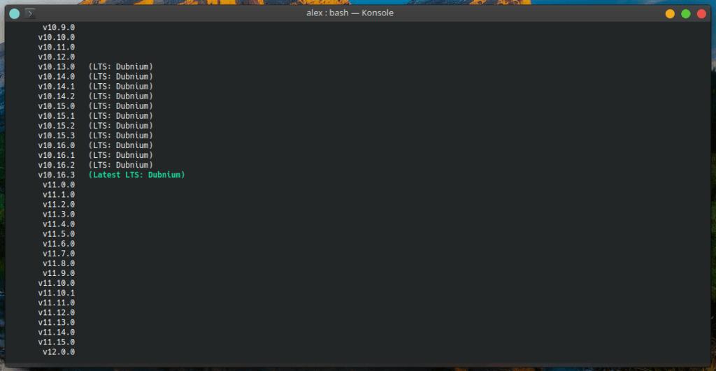 Доступные версии Node JS