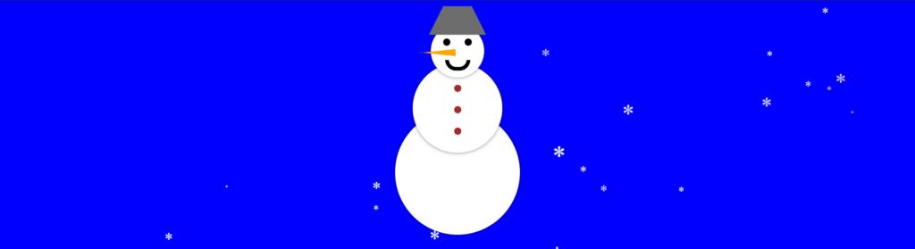 Снеговик на CSS со снегом