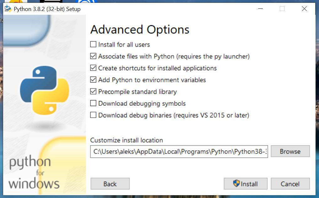 Дополнительные настройки перед установкой Python 3 на Windows 10