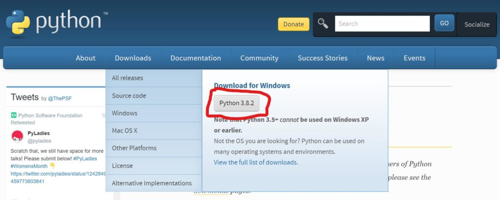 Скачиваем язык программирования Python