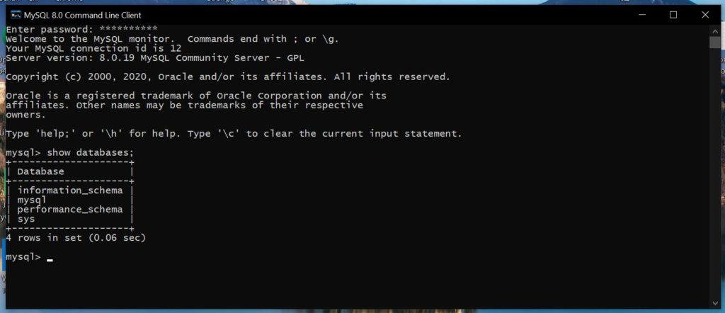 Проверка работы, после установить mysql на windows 10