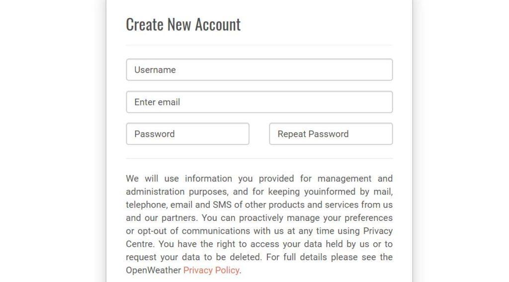 Регистрация на OpenWeatherMap