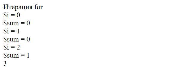 Результат отладка php кода