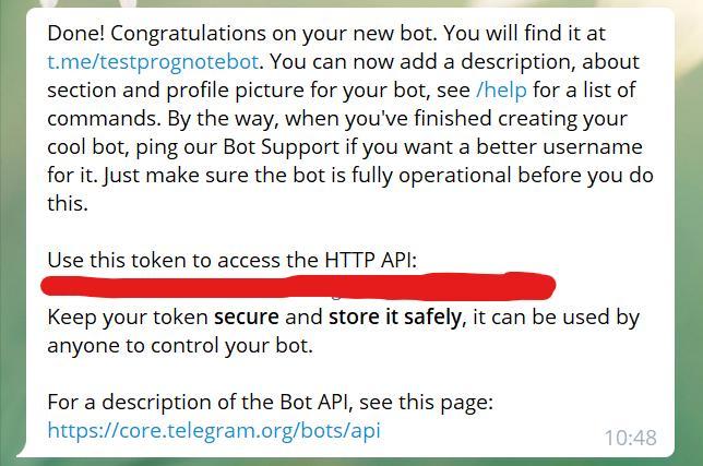 Получение токена для API, чтобы создать Telegram bot на Python