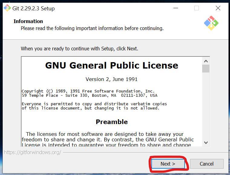 Запуск установщика Git на Windows