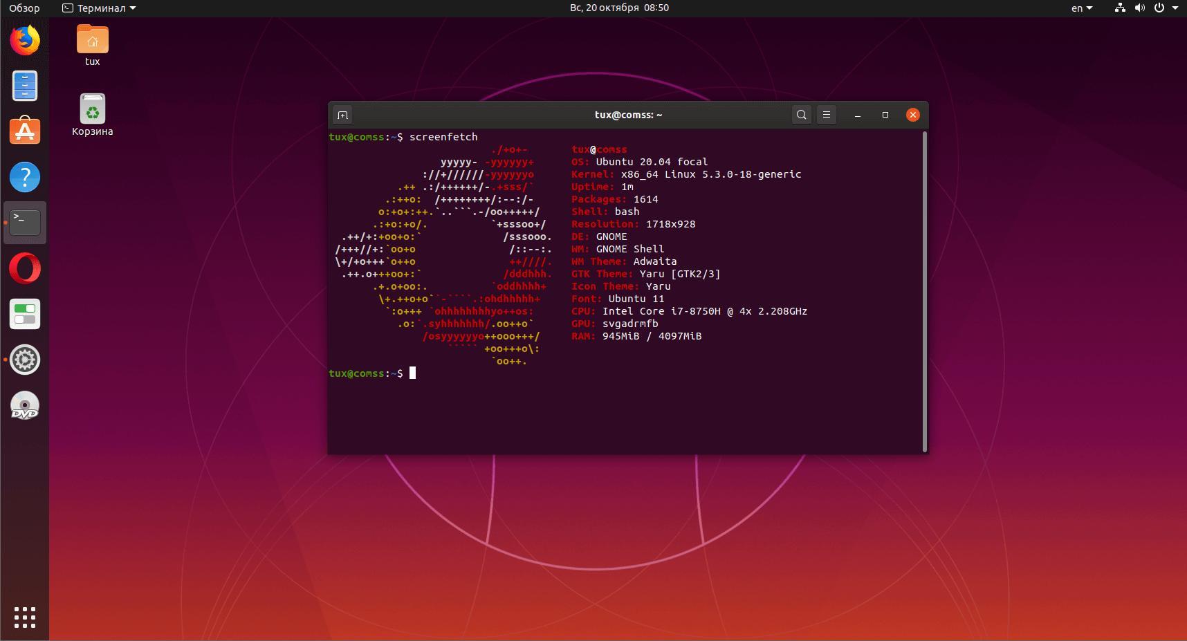 Linux Ubuntu 20.04.2 LTS c c обновлением графического стека и ядра