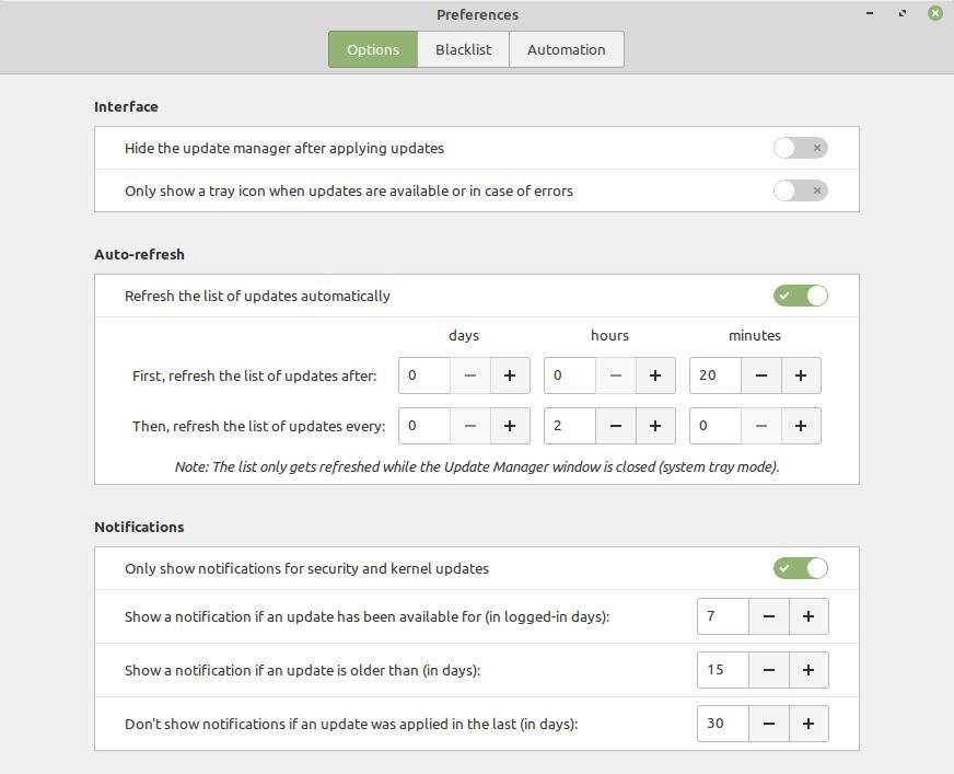 Менеджер установки обновлений в Linux Mint 20.2