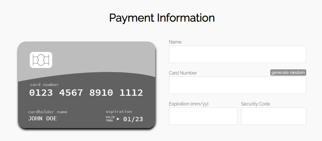 JavaScript форма кредитной или дебетовой карты