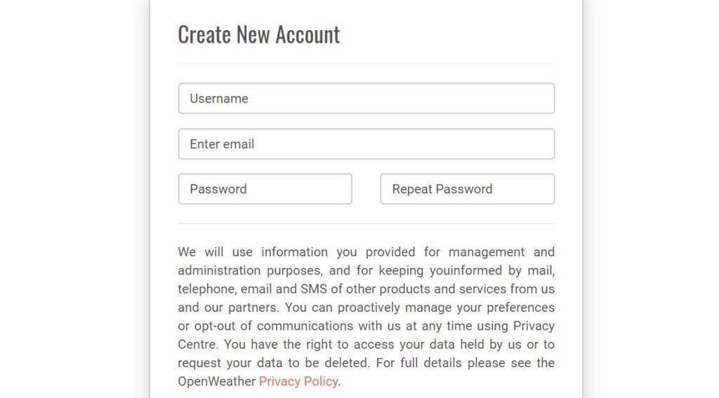 Регистрация на OpenWeather